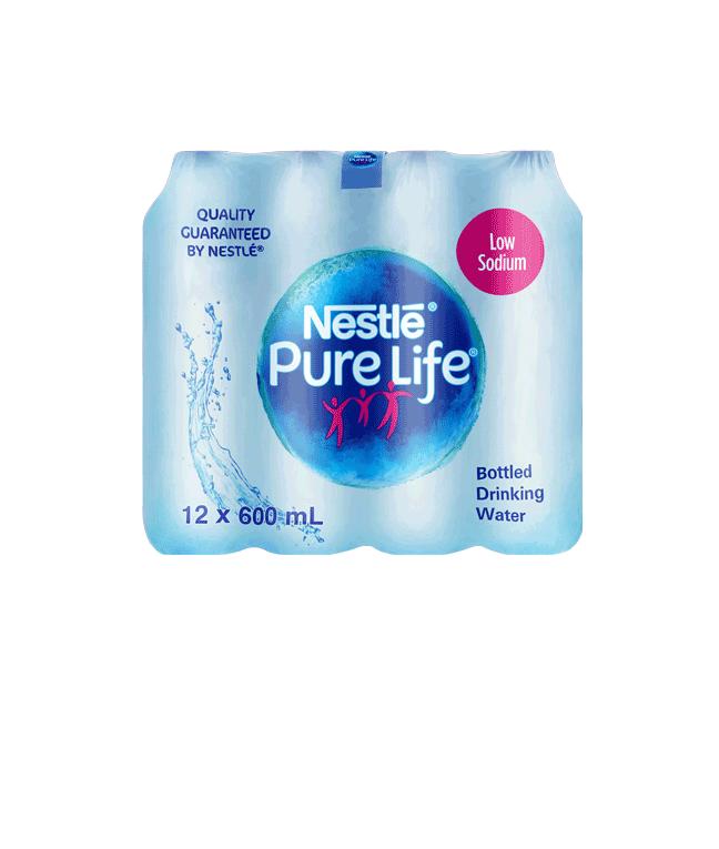 Nestle Pure Life Drinking Water Low Sodium 600ml Plastic Bottle x12