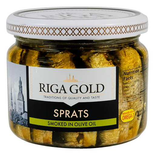 Riga Gold Smoked Sprats in olive oil 250gm