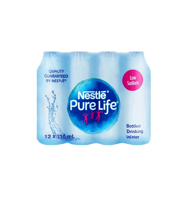 Nestle Pure Life Drinking Water Low Sodium 330ml Plastic Bottle x12