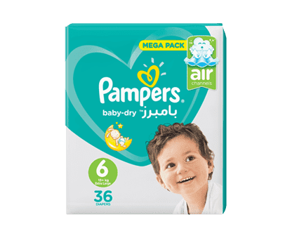 Pampers Baby-Dry Diapers, Size 6, Extra Large, 13+kg, Mega Pack, 36 Count