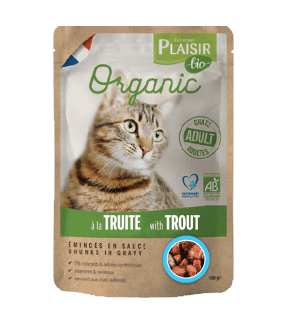 Plaisir Bio Complete food for cats, chunks in gravy with trout 100g x1