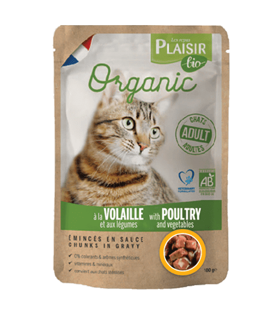 Plaisir Bio Complete food for cats, chunks in gravy with poultry & vegetables 100g x1