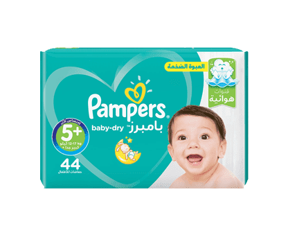 Pampers Baby-Dry Diapers, Size 5+, Junior+, 12-17kg, Mega Pack, 44 Count