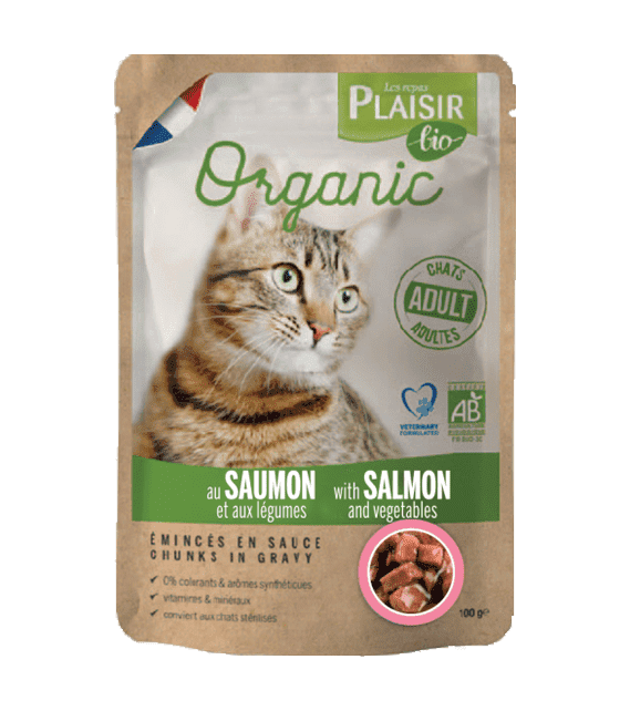 Plaisir Bio Complete food for cats, chunks in gravy with salmon and vegetables 100g x1
