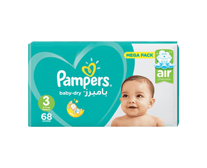 Pampers Baby-Dry Diapers, Size 3, Midi, 6-10kg, Mega Pack, 68 Count