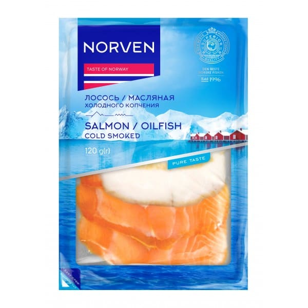 Cold-smoked Butterfish/Salmon slice mix vaccum packed