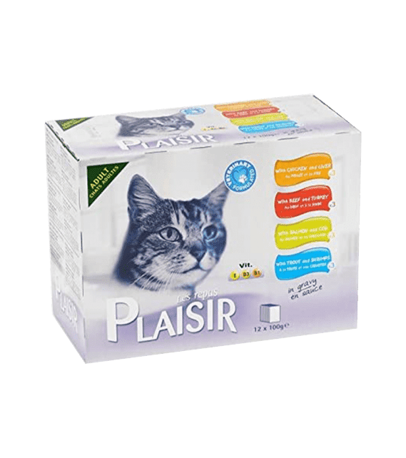 Plaisir Cats Chunks in Gravy 12 Pouches OF 100g in Multi-pack