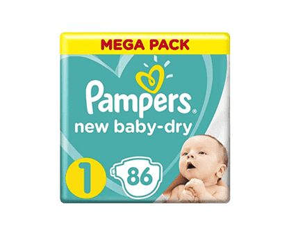 Pampers New Baby-Dry Diapers, Size 1, Newborn, 2-5kg, Mega Pack, 86 Count