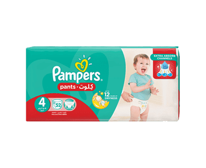 Pampers Pants Diapers, Size 4, Maxi, 9-14 kg, Jumbo Pack, 52 Count