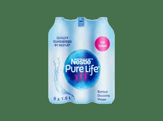 Nestle Pure Life Drinking Water Low Sodium 1.5L Plastic Bottle x 6