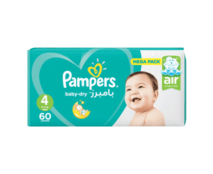 Pampers Baby-Dry Diapers, Size 4, Maxi, 9-14kg, Mega Pack, 60 Count