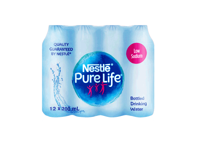 Nestle Pure Life Drinking Water Low Sodium 200ml Plastic Bottle x 12