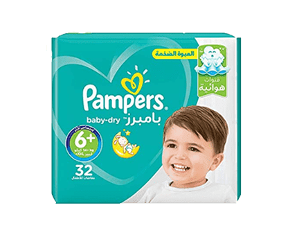 Pampers Baby-Dry Diapers, Size 6+, Extra Large+, 14+kg, Mega Pack, 32 Count
