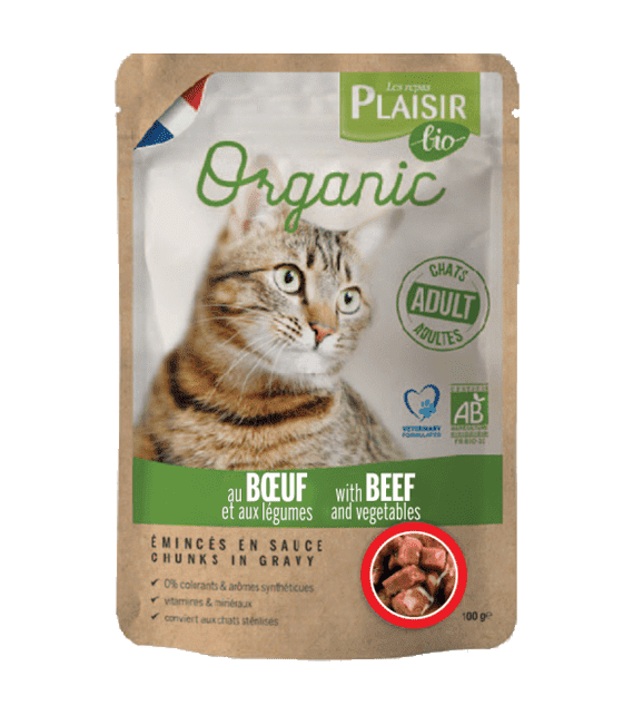 Plaisir Bio Complete food for cats, chunks in gravy with beef and vegetables 100g x1