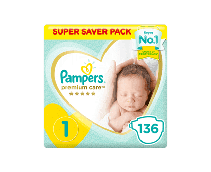 Pampers Premium Care Diapers, Size 1,  Newborn, 2-5 kg, Super Saver Pack, 136pcs.